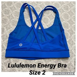 Lululemon Energy Blue Bra Size 2